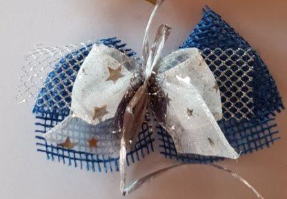 Dekoschleife blau + weiß