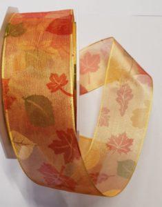 Dekoband Autum Herbstband 20m Rolle 4cm breit, Drahtkante 11,50€
