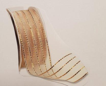 Richmond creme_gold 20m Rolle, 4cm breit, Drahtkante